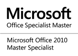 Word 2010 Specialist and Expert Excel 2010 Specialist and Expert Outlook 2010, PowerPoint 2010, One Note 2010, SharePoint 2010, Office365 2010